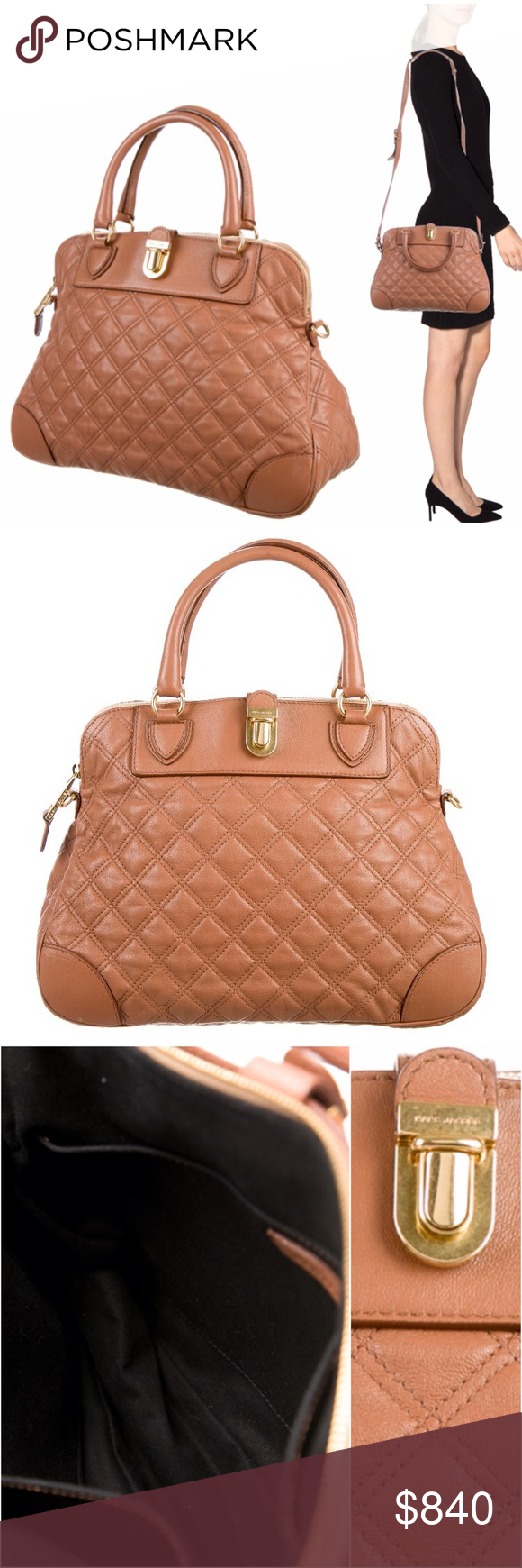 """Authentic Marc Jacobs Whitney Quilted Satchel Brown quilted leather Marc Jacobs Whitney bag w/ gold-tone hardware, optional shoulder strap, dual rolled handles, single pocket @ exterior w/ flap & magnetic snap closure, black canvas lining, dual slit pockets @ interior walls & zip closure @ top. Bag is hard to part with, but I'm gauging interest & thinking about it. All photos of actual bag listed. Strap Drop: 22"""" Handle Drop: 5"""" H: 10"""" W: 14"""" D: 5"""" Condition: very faint wear @ corners…"""