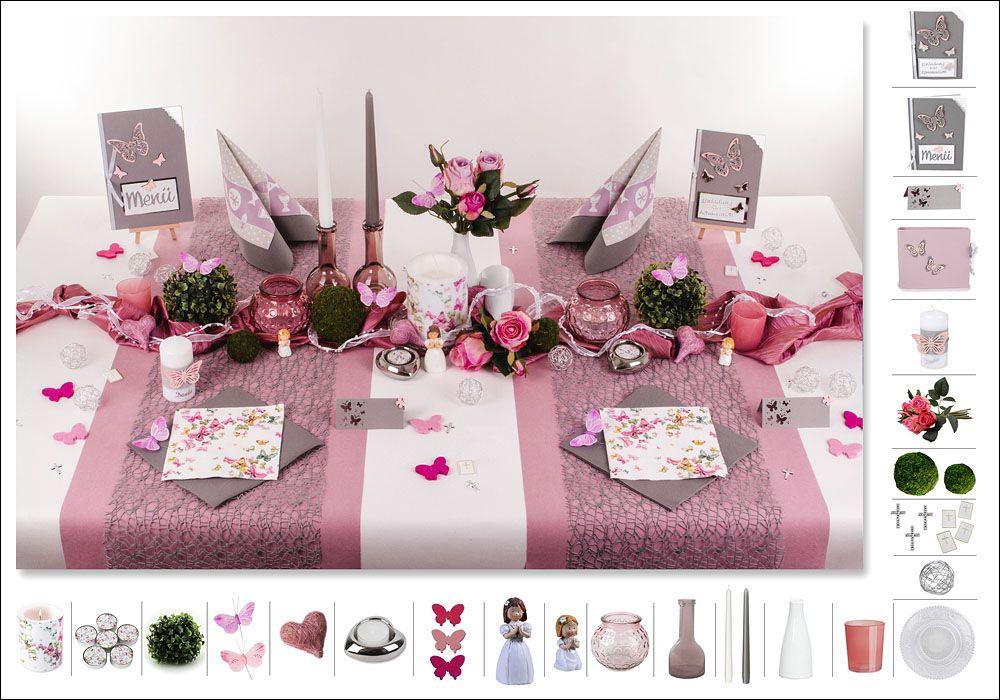 Rosafarbene Filz Schmetterlinge Und Die Dazu Passenden Servietten Verleihen Ihrem Tisch Zusammen Mit Dem K Tischdeko Kommunion Tischdeko Konfirmation Tischdeko