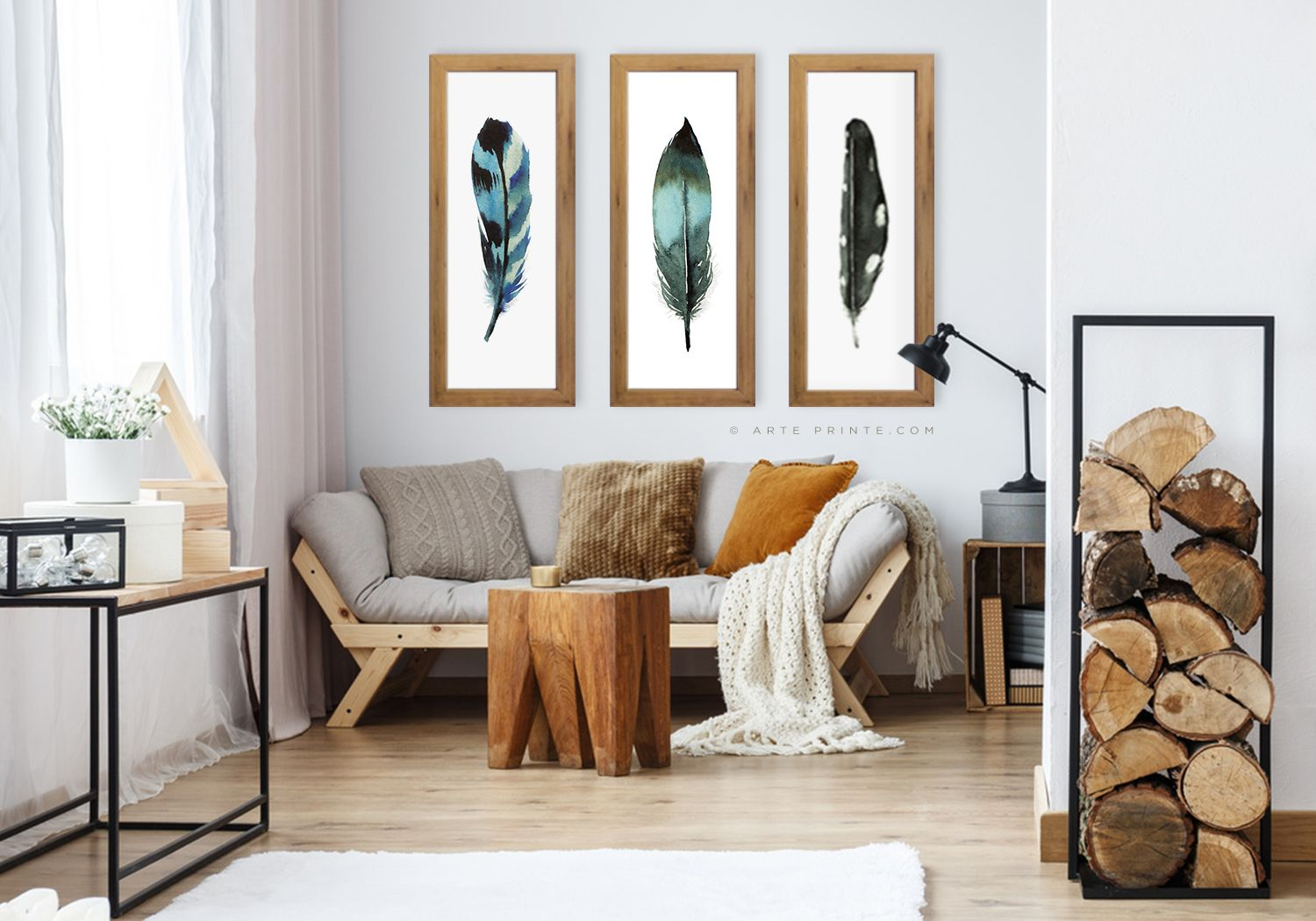 Feather Wall Art Set Of 3 Prints Extra Large Narrow Boho Etsy Feather Wall Art Wall Art Sets Wall Art Living Room #wall #art #sets #for #living #room