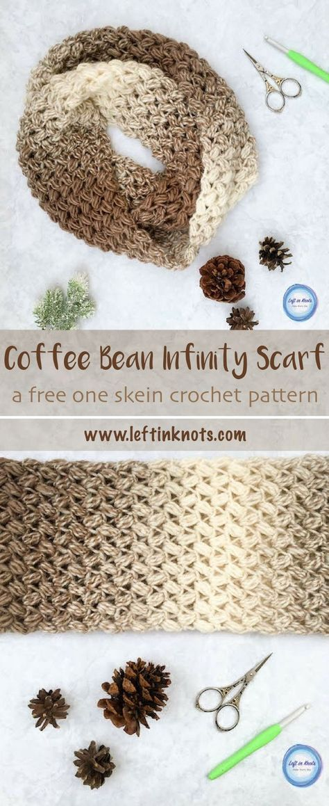 Coffee Bean Infinity Scarf Crochet Pattern | Capuchas, Puntadas y ...