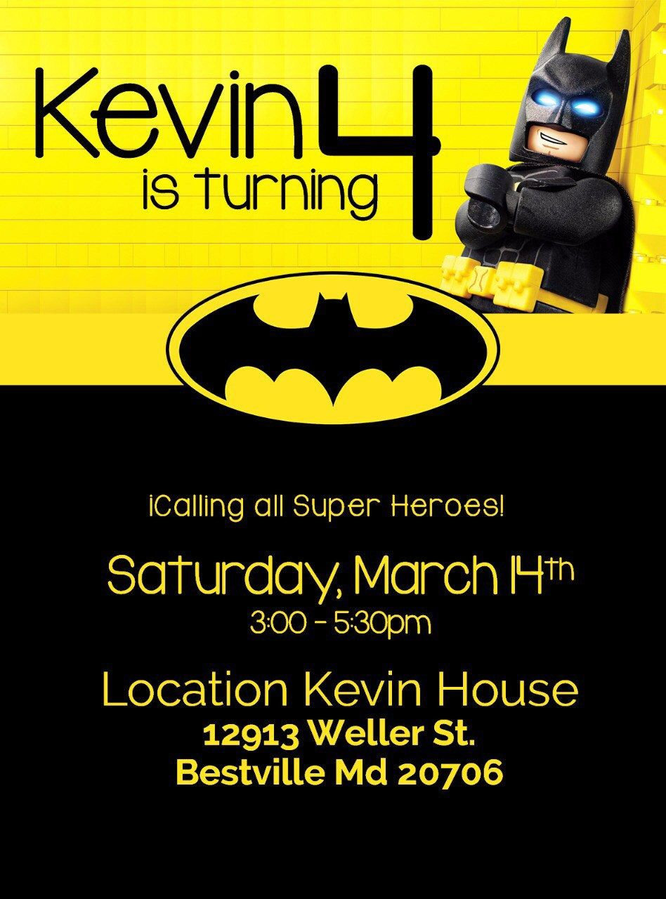 Batman Birthday Invitation, Batman Printable or Printed Invitation ...