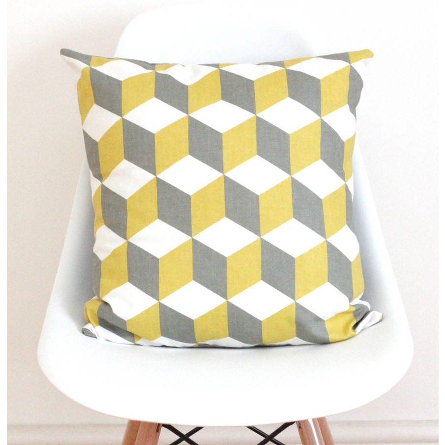 Quirkybee Geometric Yellow And Grey Linen Cushion Cover