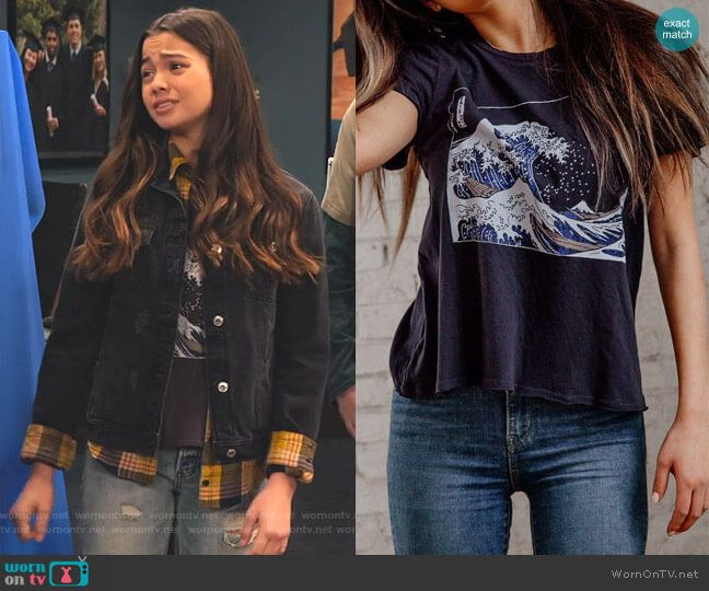 Young Girl Fashion Combat Cross Gold Studded Cap Sleeve Black T-Shirt