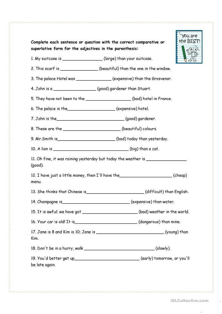 Comparative And Superlative Exercises Worksheet Free Esl Printable Worksheets Made By Teachers Superlatives Grammar Worksheets English Words