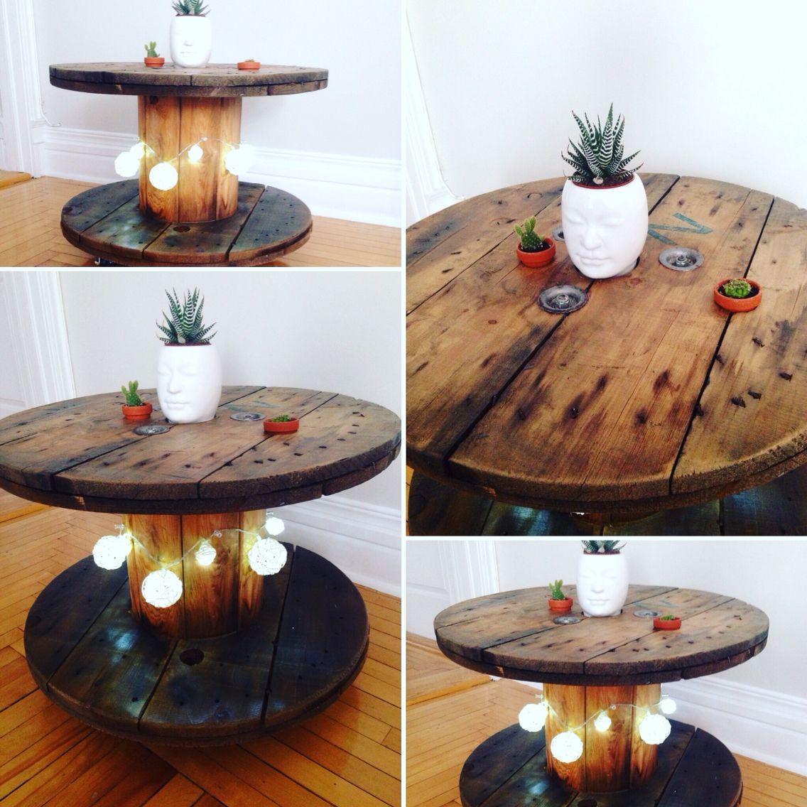 Touret Transforme En Table Basse Tables En Palettes De Bois Table Basse Idee Table Basse