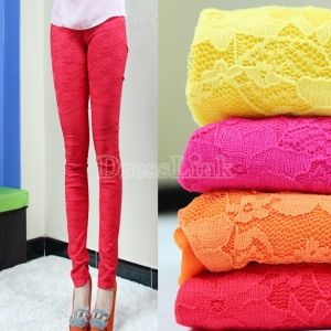 Women Fashion Candy Color Lace Patchwork Women Legging Skinny Tights Pencil Pants 4colors
