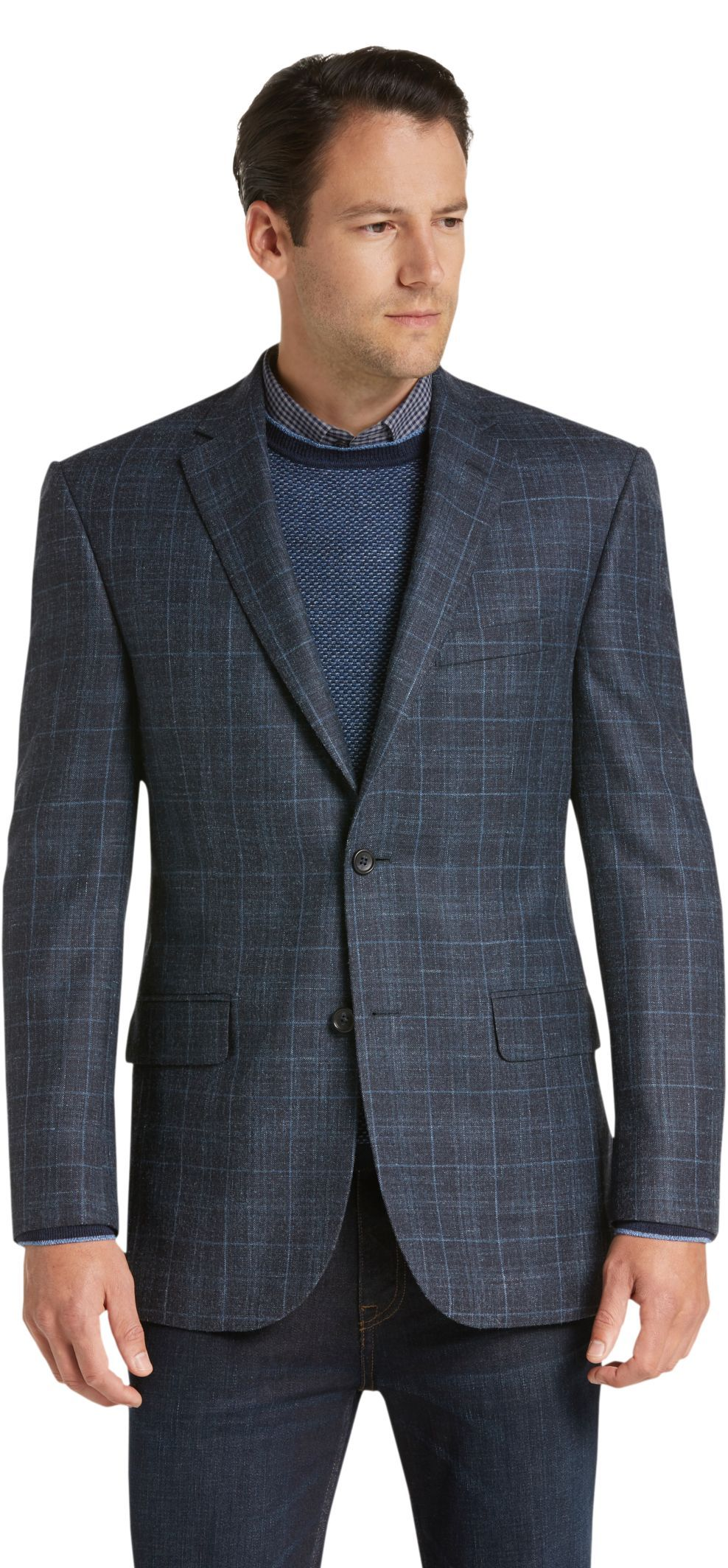 Signature Collection Tailored Fit Windowpane Plaid Sportcoat