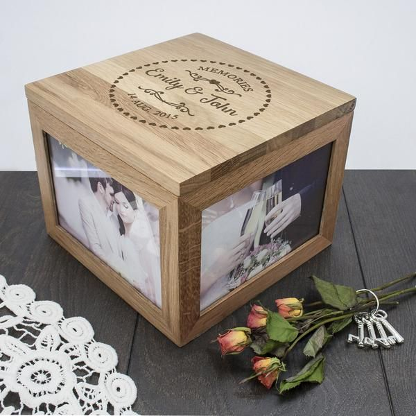 Keepsake Wedding Gifts: Couple's Oak Personalised Photo Keepsake Box With Heart