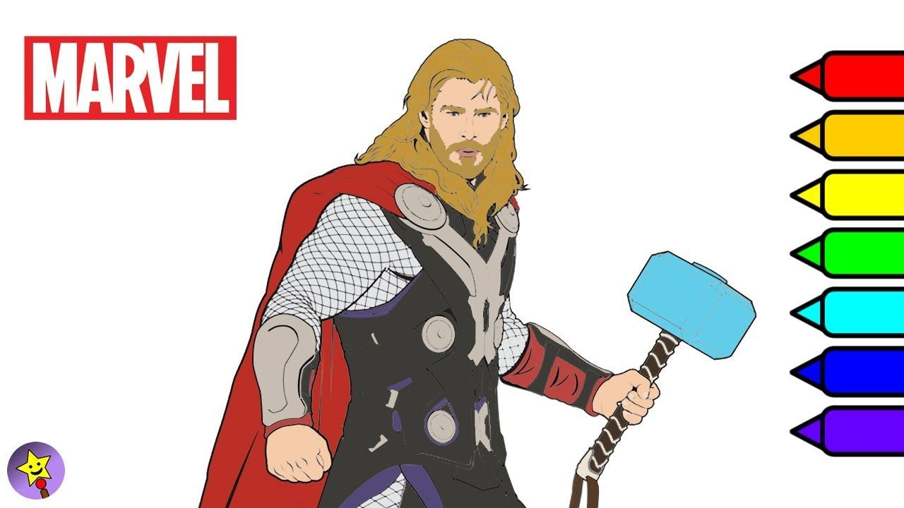 Digital coloring of Thor Thor coloring book page Marvel Avengers ...