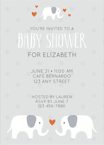 printable elephant shower invitation girl