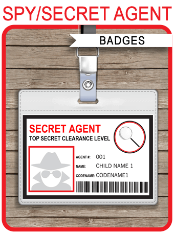 spy or secret agent badge template red hey teach pinterest