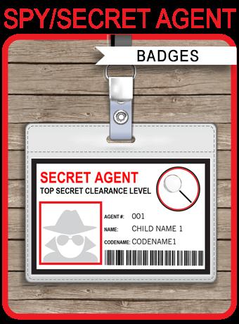 spy or secret agent badge template red pinterest badges