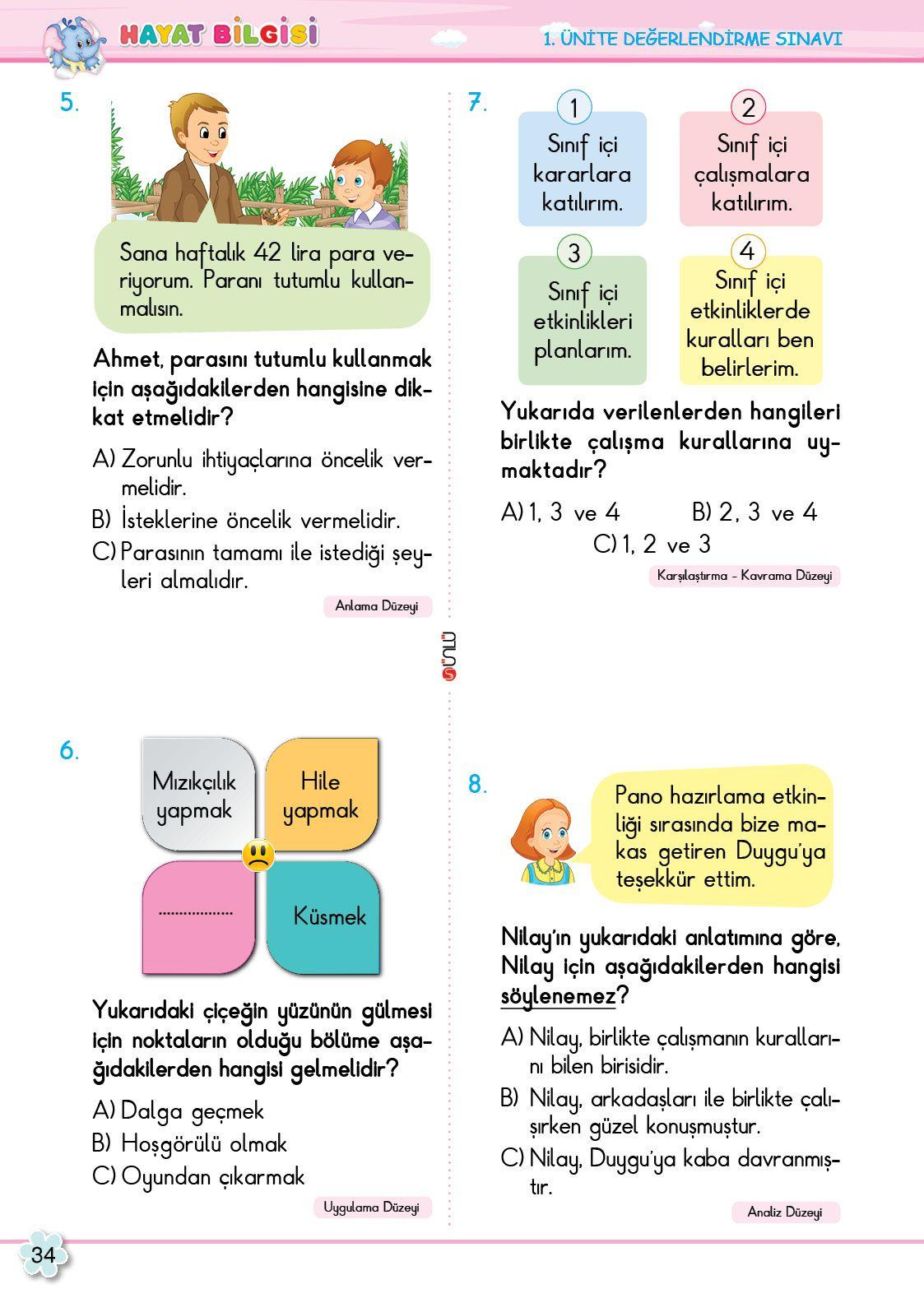 2. Sınıf Soru Bankası Hayat Bilgisi Süper Kitap Hayat