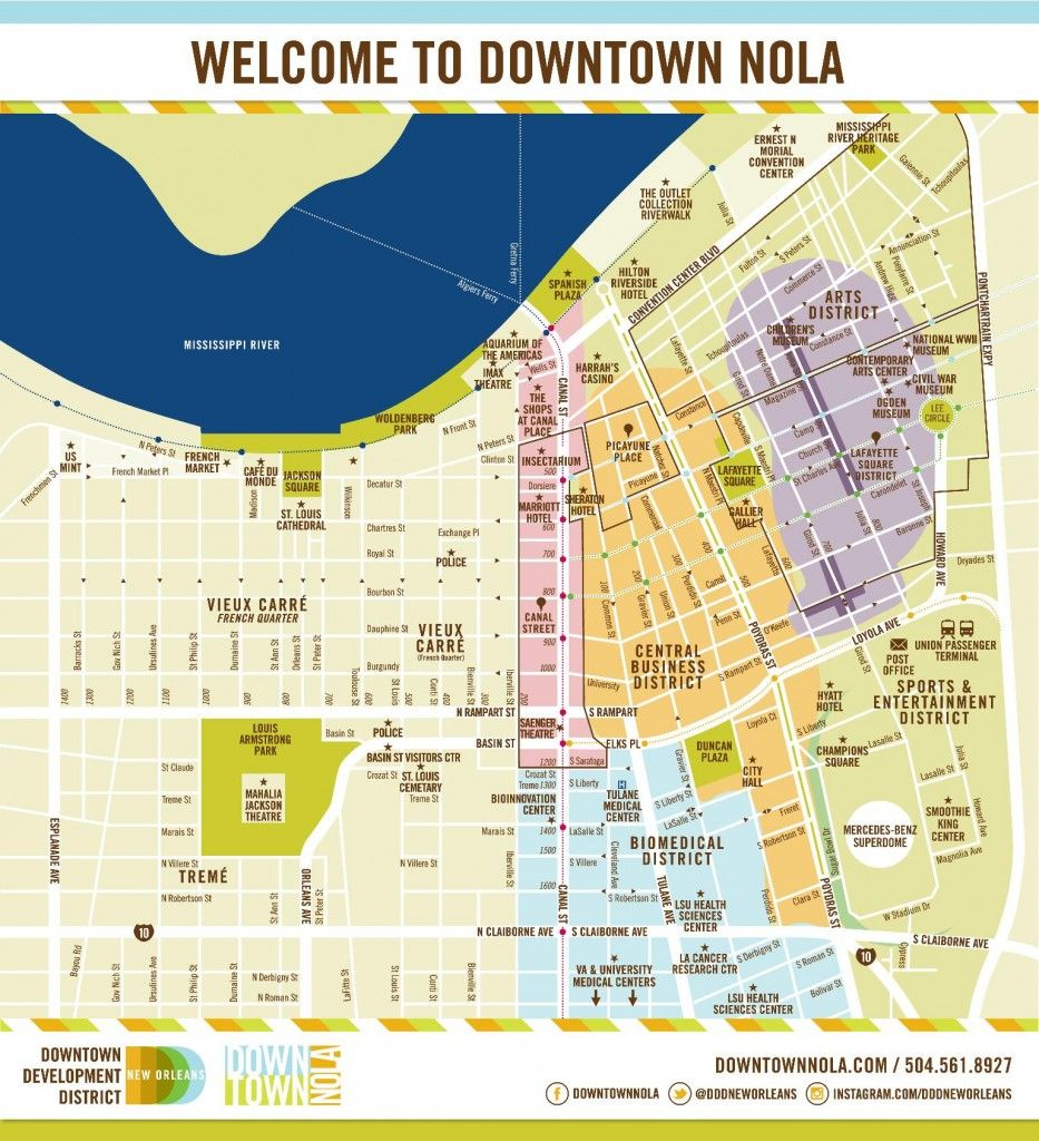 picture about Printable Walking Map of New Orleans called A downloadable map of downtown Clean Orleans; convention lodge