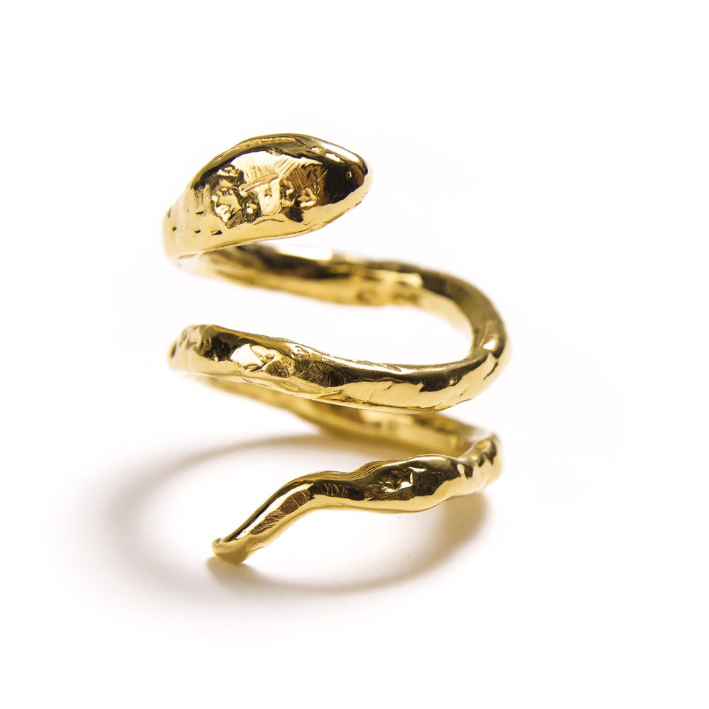 textured Serpent wrap ring. 14k gold plate. Measures 1