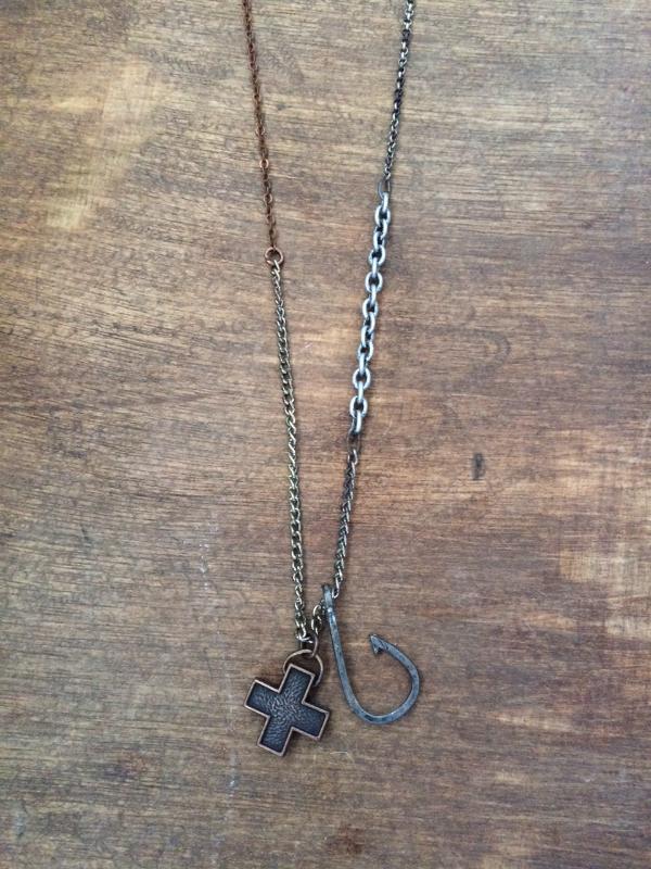 Doxahlogy mens xxvi antiqued copper cross pendant with antiqued copper cross pendant with antiqued silver fish hook on aloadofball Images