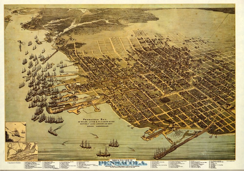 Florida Memory - Bird's-Eye View of Pensacola, 1896 Labels hotels--Merchants, Plaza, National, and Escambia
