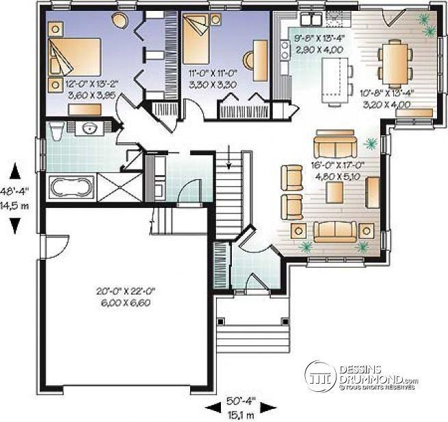 Plan de Rez-de-chaussée Plain-pied champêtre, 2 chambres, garage ...