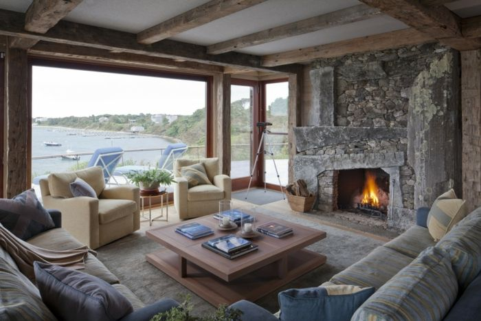 1001 ideas sobre salones acogedores con chimeneas de le a - Chimenea de mesa ...