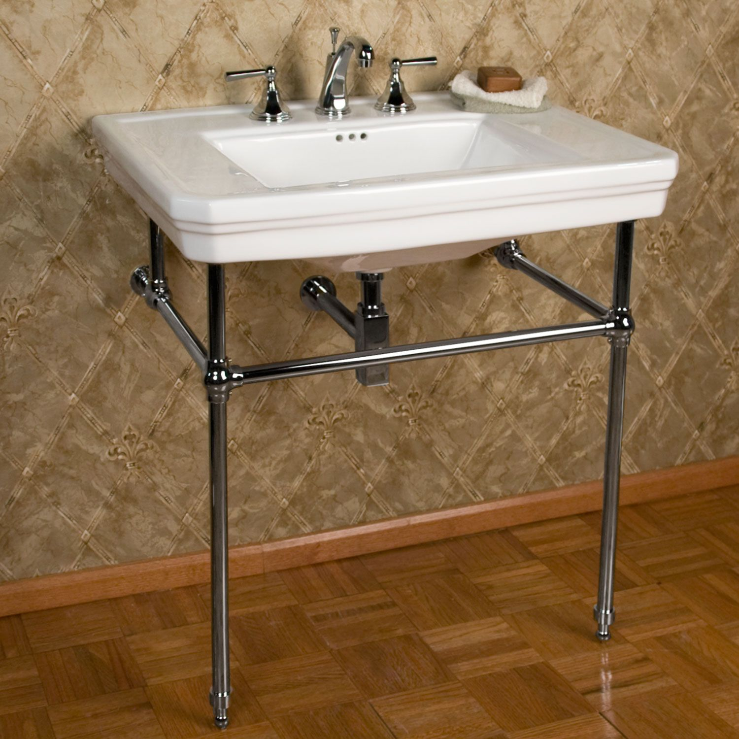 "Mason Console Sink with Brass Stand with 8"" Centers available in"