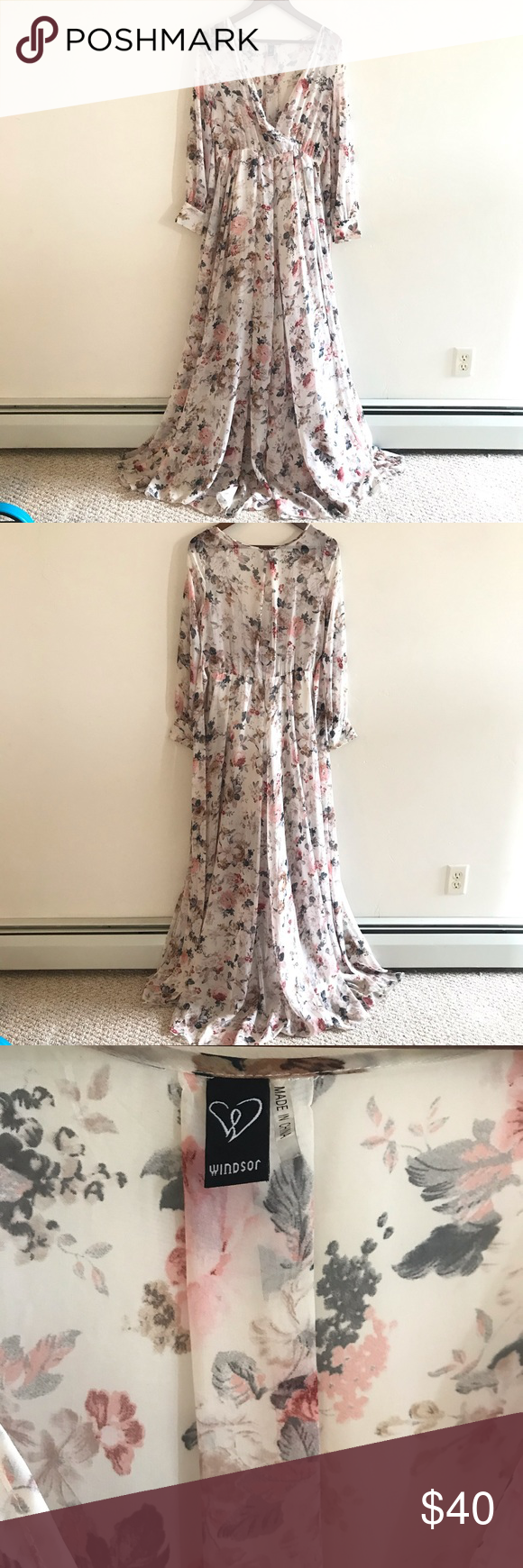 Windsor Floral Long Sleeve Dress Size L I Loved This Dress But I Generally Only Wear My Dresses Once These A Long Sleeve Floral Dress Dresses Clothes Design [ 1740 x 580 Pixel ]