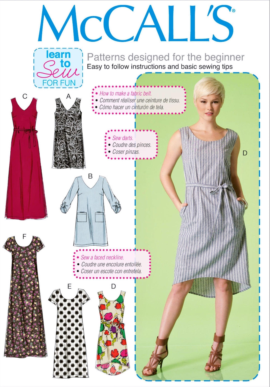 Sewing Pattern Dress Pattern Learn to Sew Dress Pattern Easy
