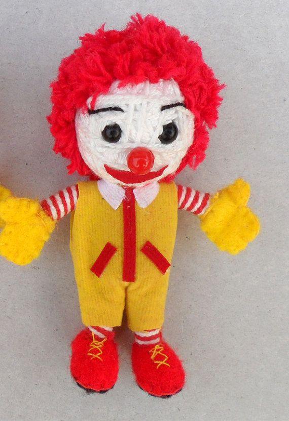 Ronald Mcdonald String doll Voodoo doll keychain/ FREE Shipping on Etsy, $4.99