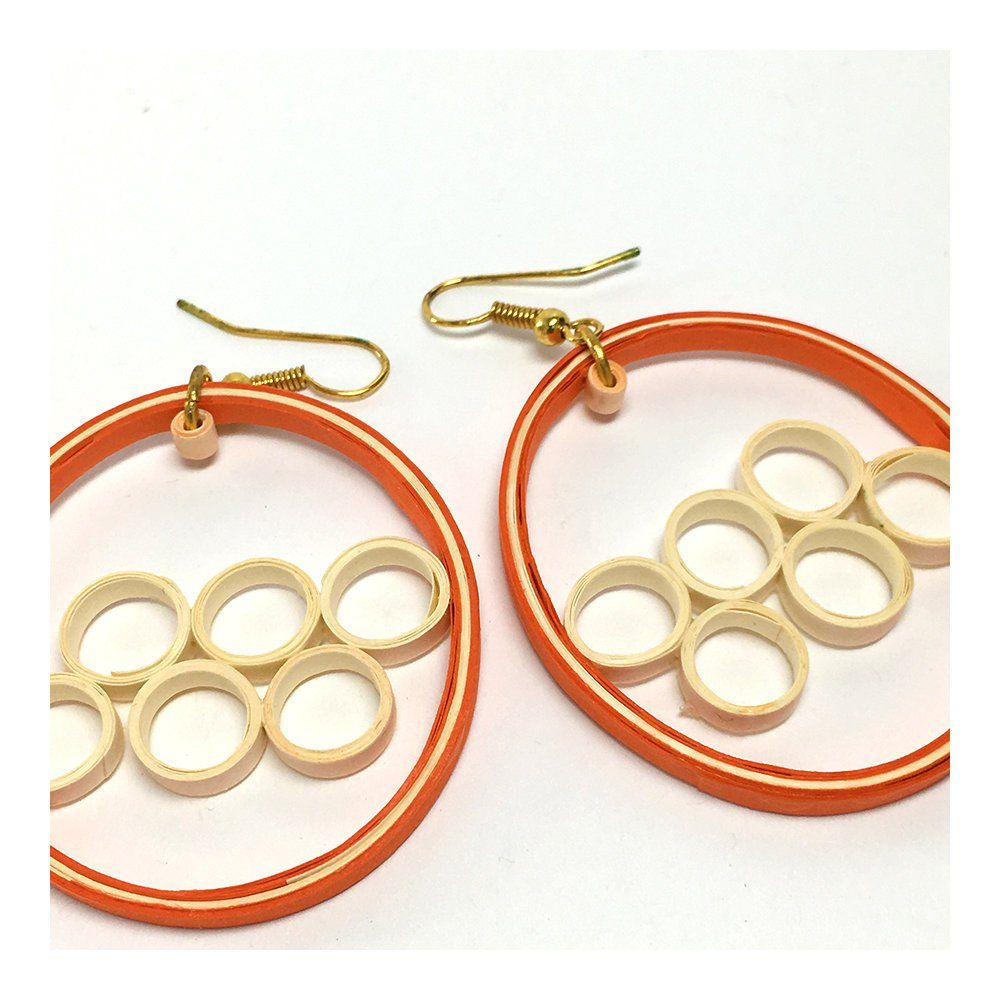 Simple quilling earrings orange hoops quilling earrings and art pieces