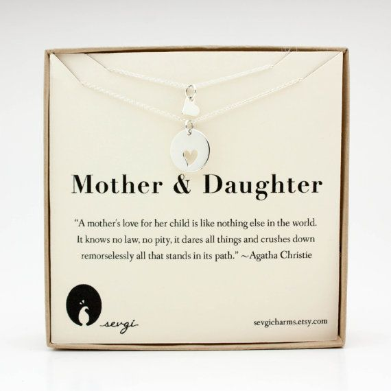 Mother Daughter Necklace Set Kids Baby Sterling Silver Matching Heart Jewelry Gift Ideas For Mom New Her Wife