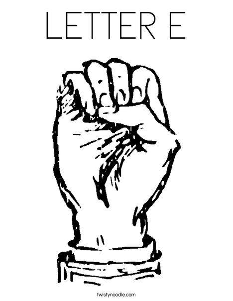 Letter E Coloring Page  Twisty Noodle  Sign Language