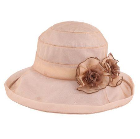 af6549e3604 Eleganc ladies silk sun hats flower decoration UV beach hat
