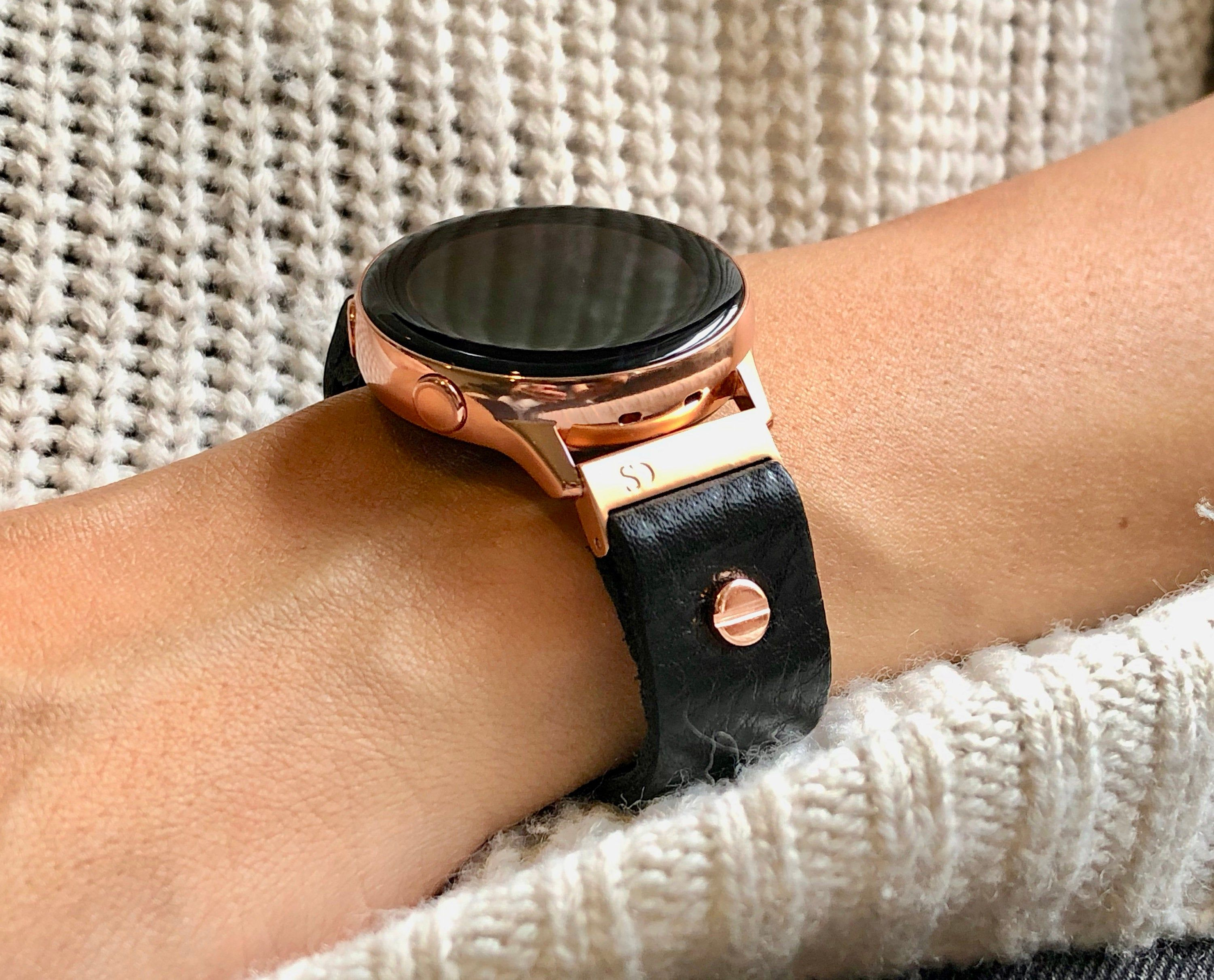 High Quality Grain Genuine Leather Strap Band Compatible With Galaxy Watch 42mm Galaxy Watch A Black Leather Watch Strap Black Leather Leather Watch Strap
