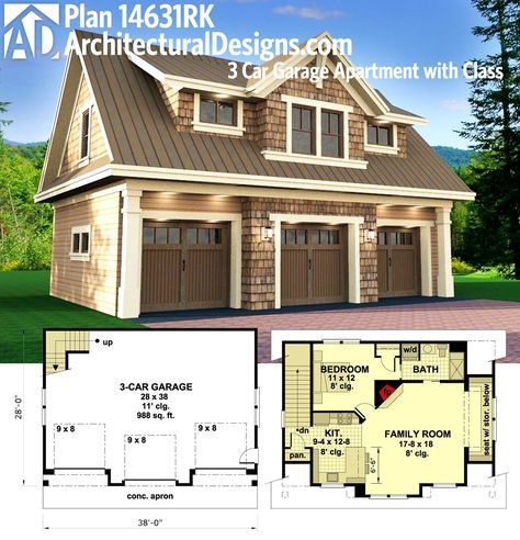 Plan 14631rk 3 Car Garage Apartment With Class Carriage House Plans Carriage House Garage Garage Apartment Plans