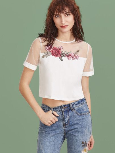 3ae8626ccd368 Camiseta corta con manga de malla y bordado - blanco