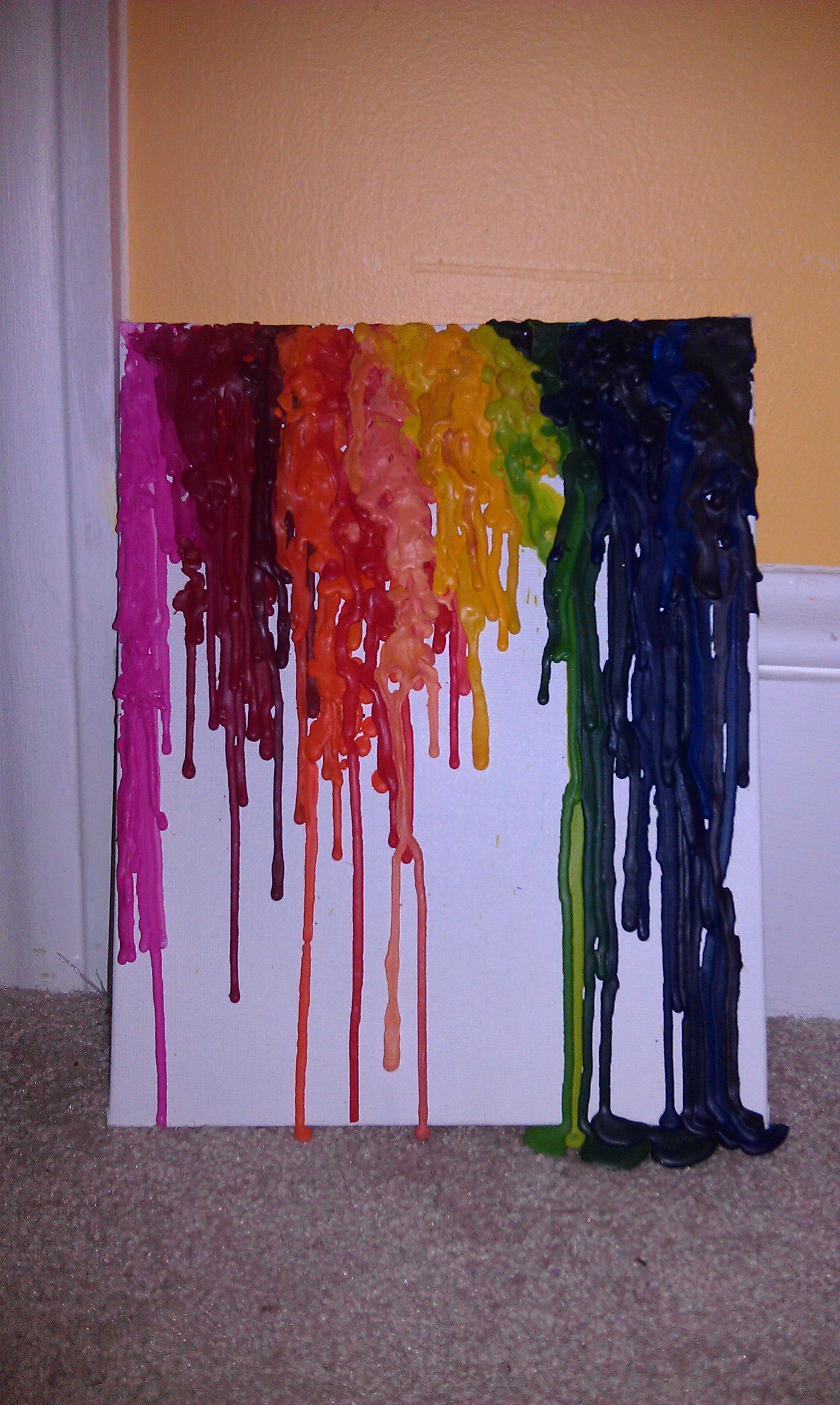 Crayon melted to canvas board... (It is dry and not melted