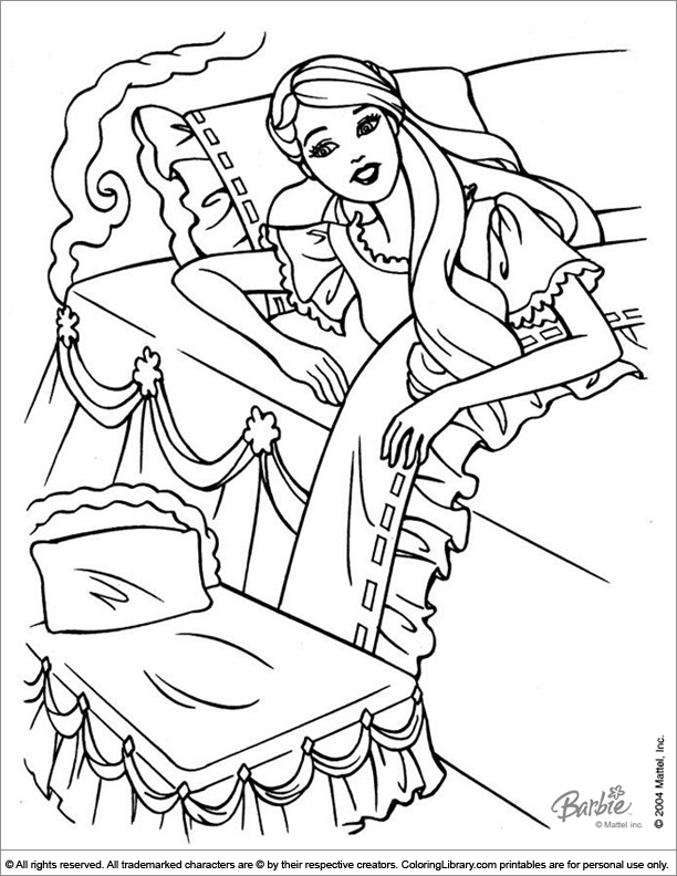 Barbie Coloring Page Barbie In Her Bed Barbie Coloring Cartoon Coloring Pages Coloring Pages For Girls