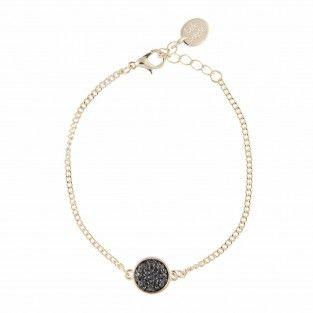 Bracelet fin doré strass noirs