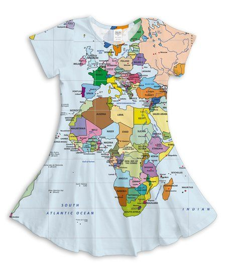63c6cc8f3 White   Tan World Map Swing Dress - Toddler   Girls