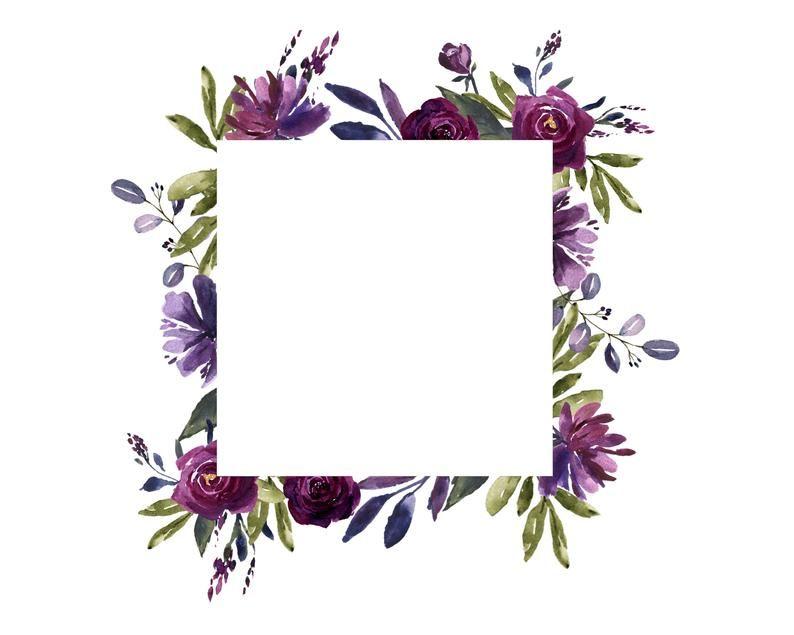Watercolor Frames Wreaths And Borders In Plum Purple Blue Etsy Flower Frame Frame Wreath Flower Border