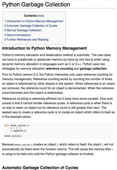 Python memory management and garbage collection | Software