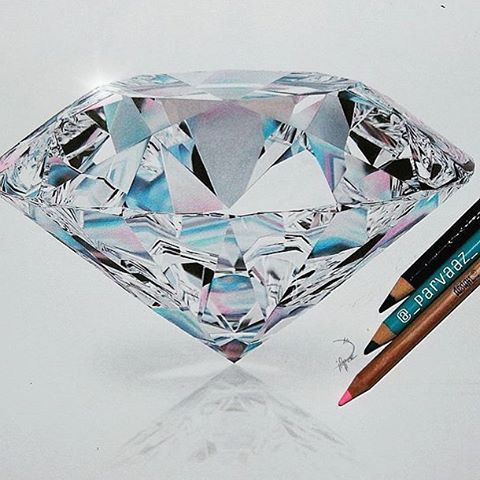 Diamond realistic. Drawing by parvaaz check