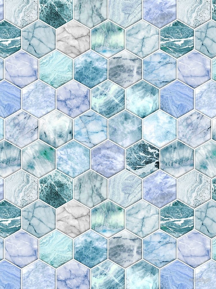 Ice Blue And Jade Stone And Marble Hexagon Tiles By Micklyn Blue Wallpaper Iphone Hexagon Wallpaper Blue Marble Wallpaper