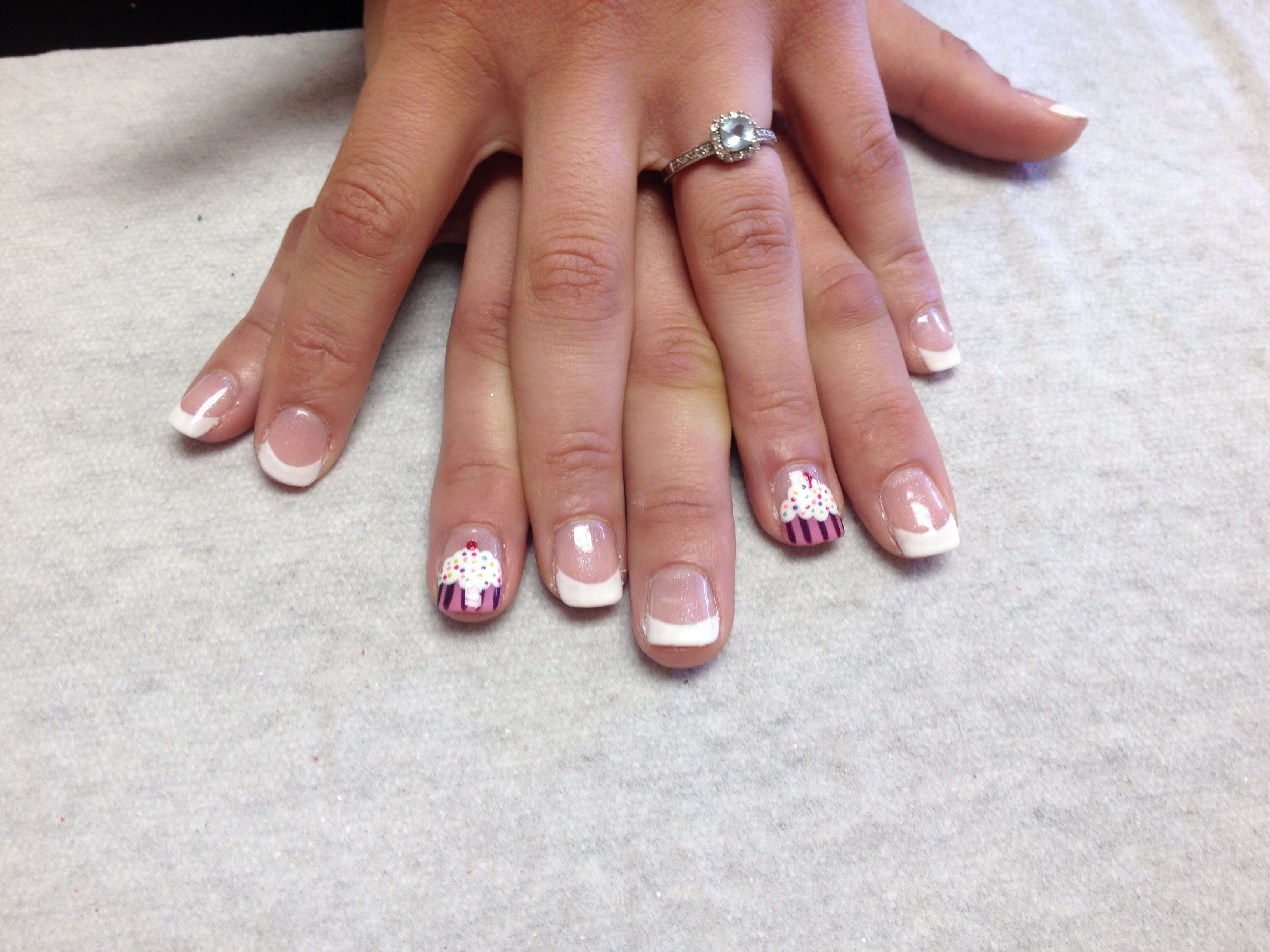 French with cupcake design on accent nails Oasis Salon and Spa Mill ...