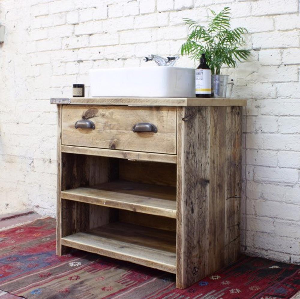 Georgi Reclaimed Wood Bathroom Vanity Unit Handmade Bespoke