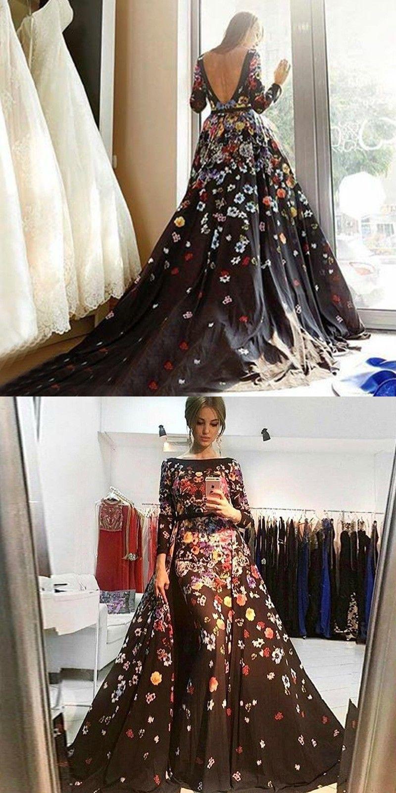 Aline bateau long sleeves backless long black floral prom dress in