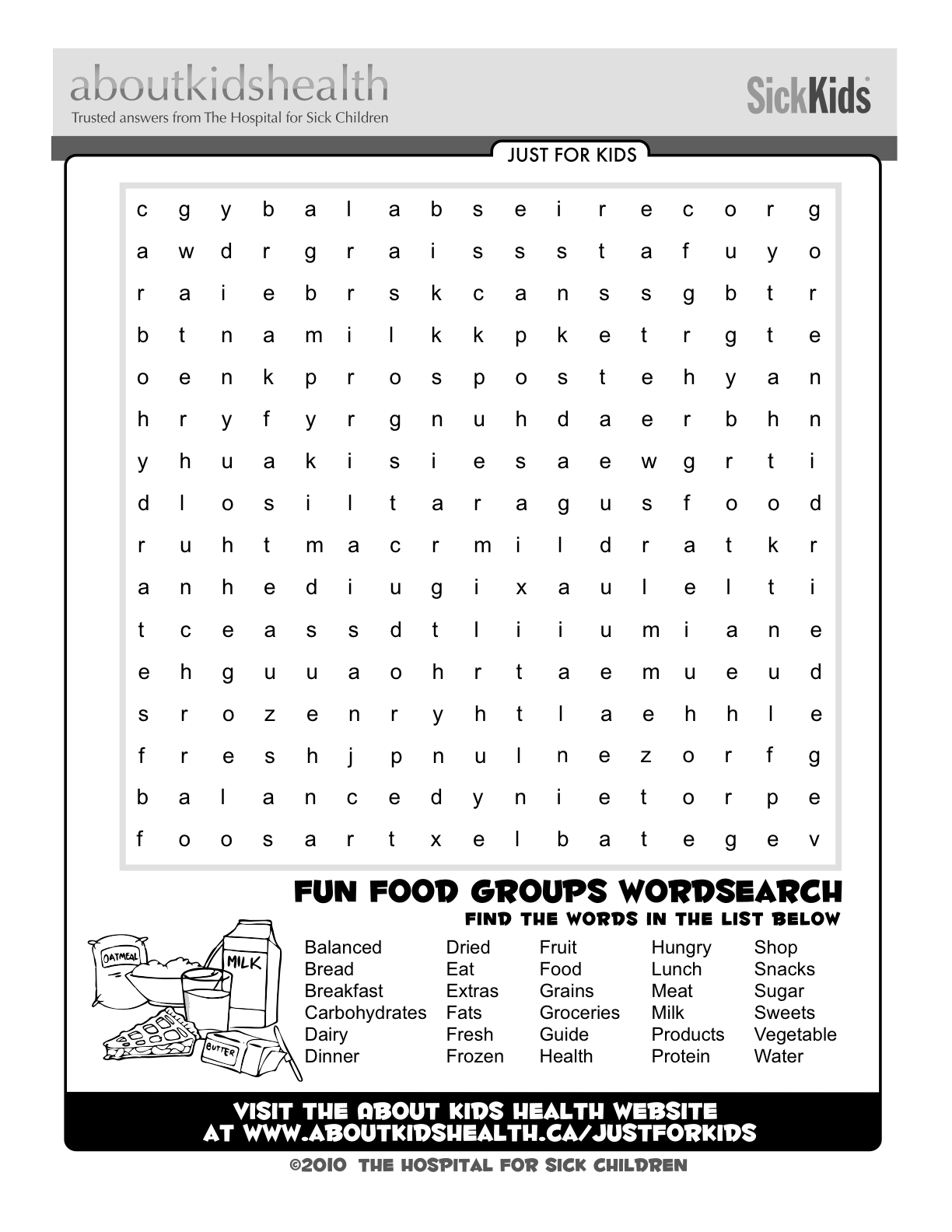 Check Out This Fun Food Groups Word Search