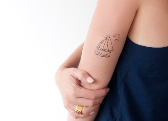 Illustrated Sailing Boat Sea And Clouds Temporary Tattoo Summer Nautical Tattoo Wedding And Occasion Tattoo Set Temp Tattoo Tiny Tattoos Nautical Tattoo