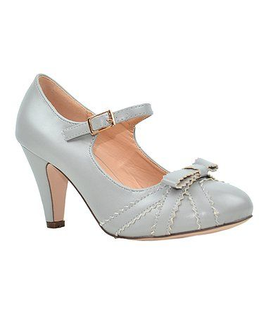 Look what I found on #zulily! Gray Scallop Bow Kimmy Pump