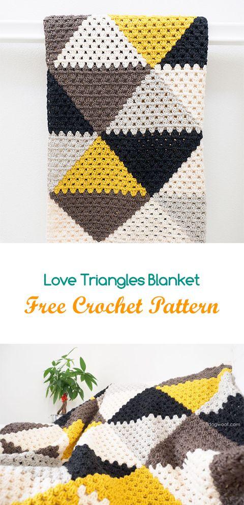 Love Triangles Blanket Free Crochet Pattern #crochet #yarn #crafts ...