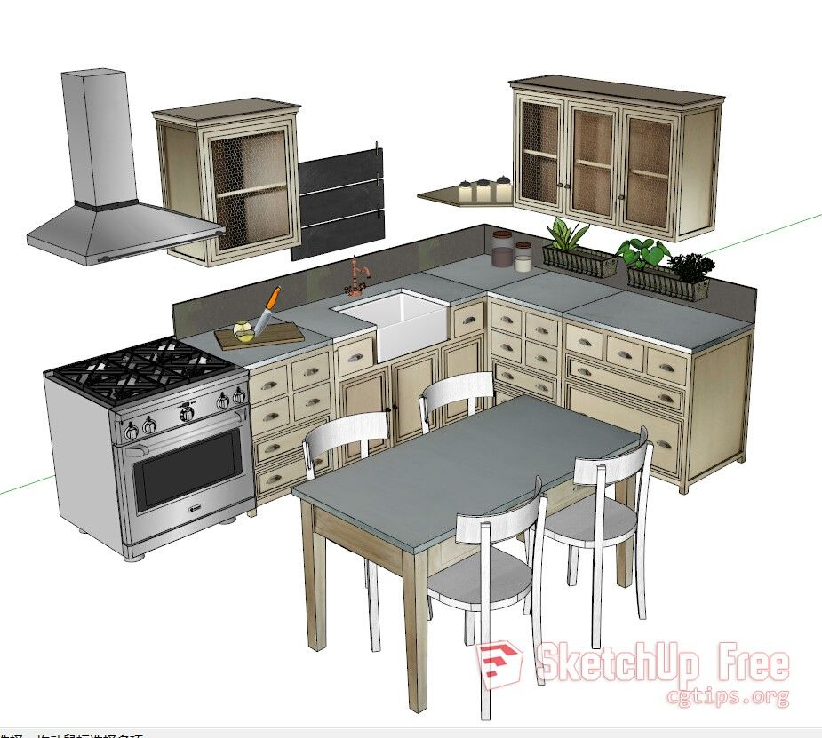 1268 Kitchen Sketchup Model Free Download